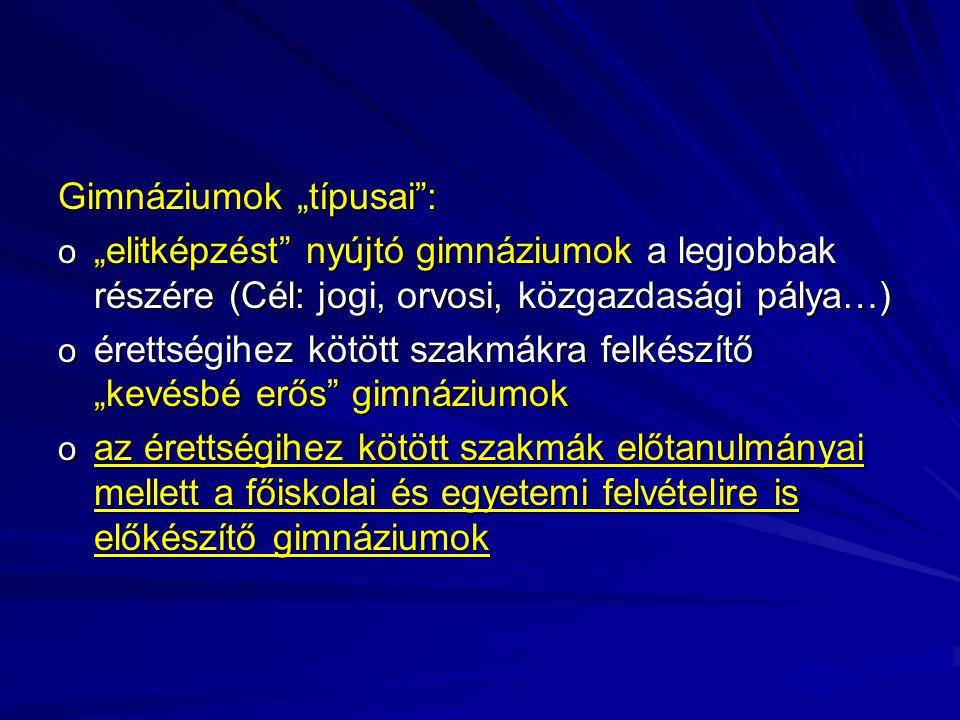 """Gimnáziumok """"típusai"""": o """"elitképzést"""" nyújtó gimnáziumok a legjobbak részére (Cél: jogi, orvosi, közgazdasági pálya…) o érettségihez kötött szakmákra"""