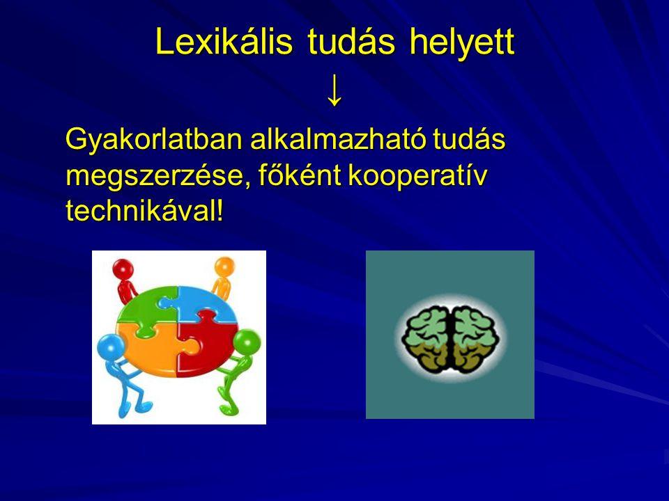 Lexikális tudás helyett ↓ Gyakorlatban alkalmazható tudás megszerzése, főként kooperatív technikával! Gyakorlatban alkalmazható tudás megszerzése, fők