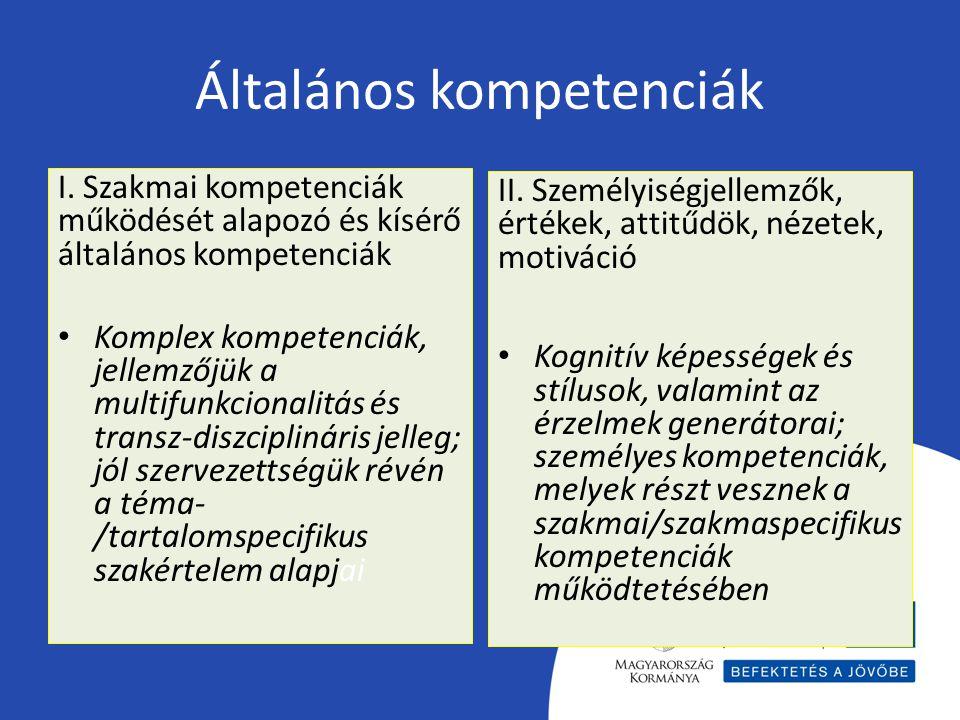 Általános kompetenciák I. Szakmai kompetenciák működését alapozó és kísérő általános kompetenciák Komplex kompetenciák, jellemzőjük a multifunkcionali