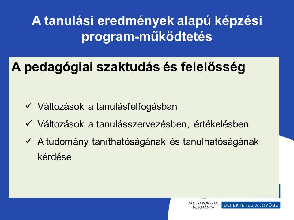 A tanulási eredmények alapú képzési program-működtetés A pedagógiai szaktudás és felelősség Változások a tanulásfelfogásban Változások a tanulásszervezésben, értékelésben A tudomány taníthatóságának és tanulhatóságának kérdése