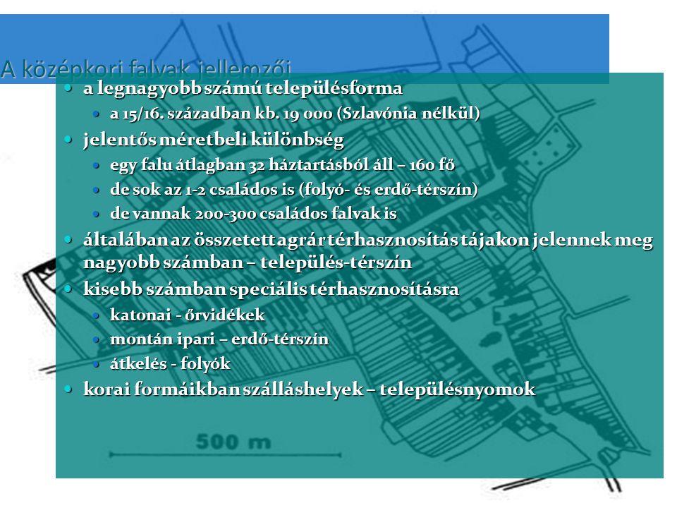 A középkori falvak jellemzői a legnagyobb számú településforma a legnagyobb számú településforma a 15/16.
