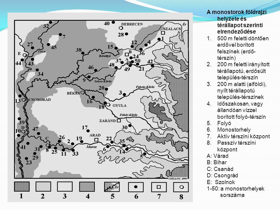 A monostorok földrajzi helyzete és térállapot szerinti elrendeződése 1.500 m feletti döntően erdővel borított felszínek (erdő- térszín) 2.200 m feletti irányított térállapotú, erdősült település-térszín 3.200 m alatti (alföldi), nyílt térállapotú település-térszínek 4.Időszakosan, vagy állandóan vízzel borított folyó-térszín 5.Folyó 6.Monostorhely 7.Aktív térszíni központ 8.Passzív térszíni központ A: Várad B: Bihar C: Csanád D: Csongrád E: Szolnok 1-50: a monostorhelyek sorszáma