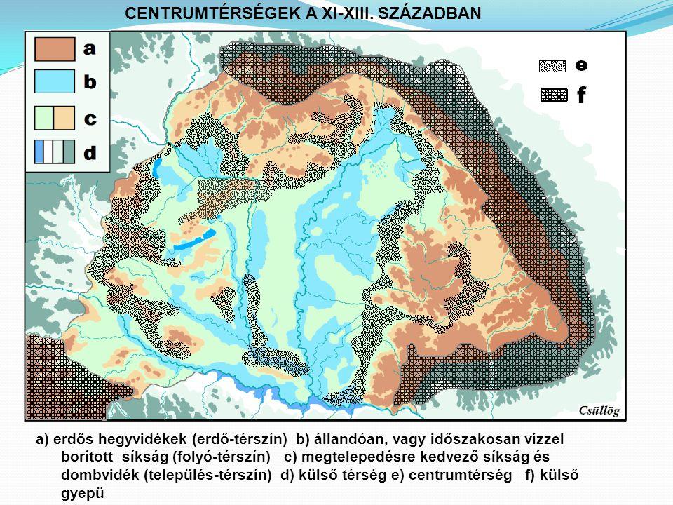a) erdős hegyvidékek (erdő-térszín) b) állandóan, vagy időszakosan vízzel borított síkság (folyó-térszín) c) megtelepedésre kedvező síkság és dombvidék (település-térszín) d) külső térség e) centrumtérség f) külső gyepü CENTRUMTÉRSÉGEK A XI-XIII.