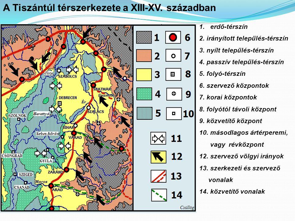 A Tiszántúl térszerkezete a XIII-XV.században 1.erdő-térszín 2.