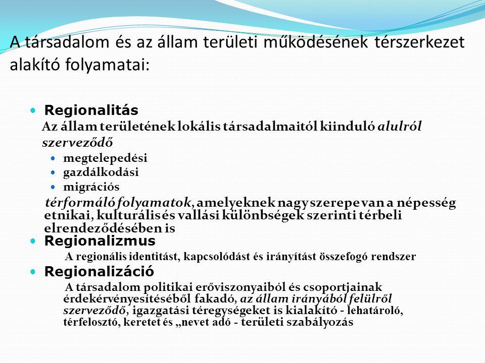 Az állam területi szerveződésének meghatározó korszakai 1.