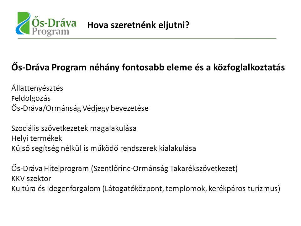 Ős-Dráva Program néhány fontosabb eleme és a közfoglalkoztatás Állattenyésztés F eldolgozás Ős-Dráva/Ormánság Védjegy bevezetése Szociális szövetkezetek magalakulása Helyi termékek Külső segítség nélkül is működő rendszerek kialakulása Ős-Dráva Hitelprogram (Szentlőrinc-Ormánság Takarékszövetkezet) KKV szektor Kultúra és idegenforgalom (Látogatóközpont, templomok, kerékpáros turizmus) Hova szeretnénk eljutni