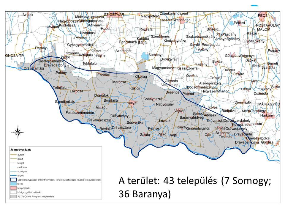 A terület A terület: 43 település (7 Somogy; 36 Baranya)