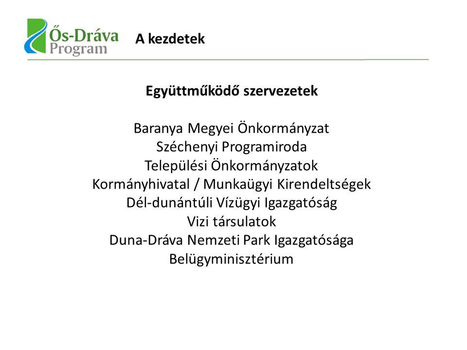 A kezdetek Együttműködő szervezetek Baranya Megyei Önkormányzat Széchenyi Programiroda Települési Önkormányzatok Kormányhivatal / Munkaügyi Kirendeltségek Dél-dunántúli Vízügyi Igazgatóság Vizi társulatok Duna-Dráva Nemzeti Park Igazgatósága Belügyminisztérium