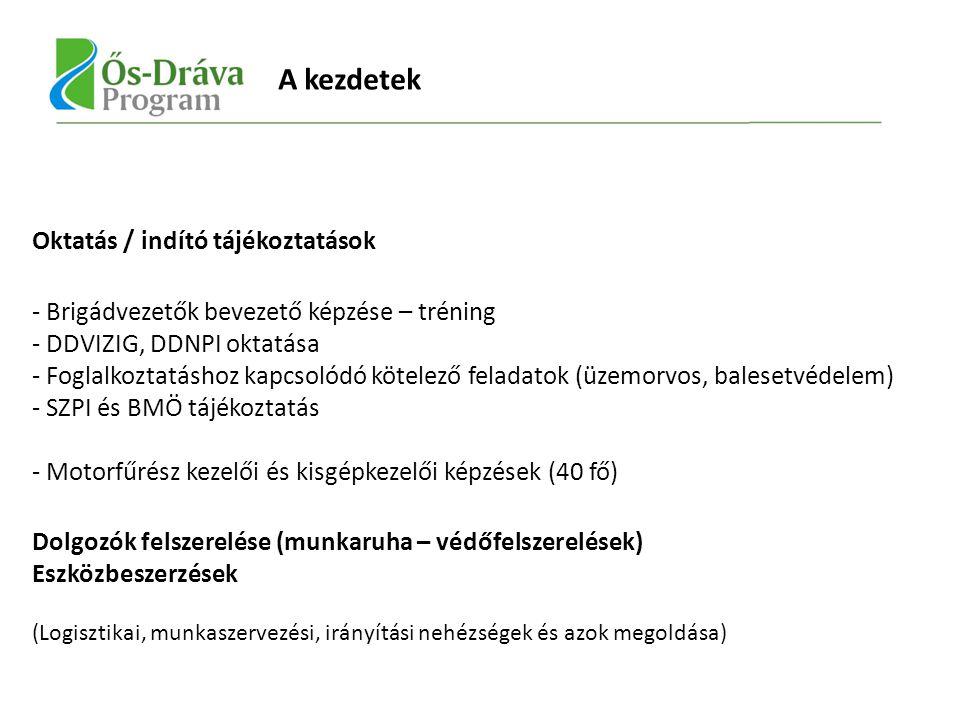 Oktatás / indító tájékoztatások - Brigádvezetők bevezető képzése – tréning - DDVIZIG, DDNPI oktatása - Foglalkoztatáshoz kapcsolódó kötelező feladatok (üzemorvos, balesetvédelem) - SZPI és BMÖ tájékoztatás - Motorfűrész kezelői és kisgépkezelői képzések (40 fő) Dolgozók felszerelése (munkaruha – védőfelszerelések) Eszközbeszerzések (Logisztikai, munkaszervezési, irányítási nehézségek és azok megoldása) A kezdetek