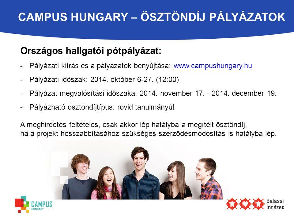 CAMPUS HUNGARY – ÖSZTÖNDÍJ PÁLYÁZATOK Országos hallgatói pótpályázat: -Pályázati kiírás és a pályázatok benyújtása: www.campushungary.huwww.campushung