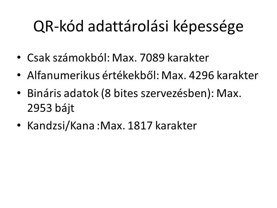 QR-kód adattárolási képessége Csak számokból: Max.