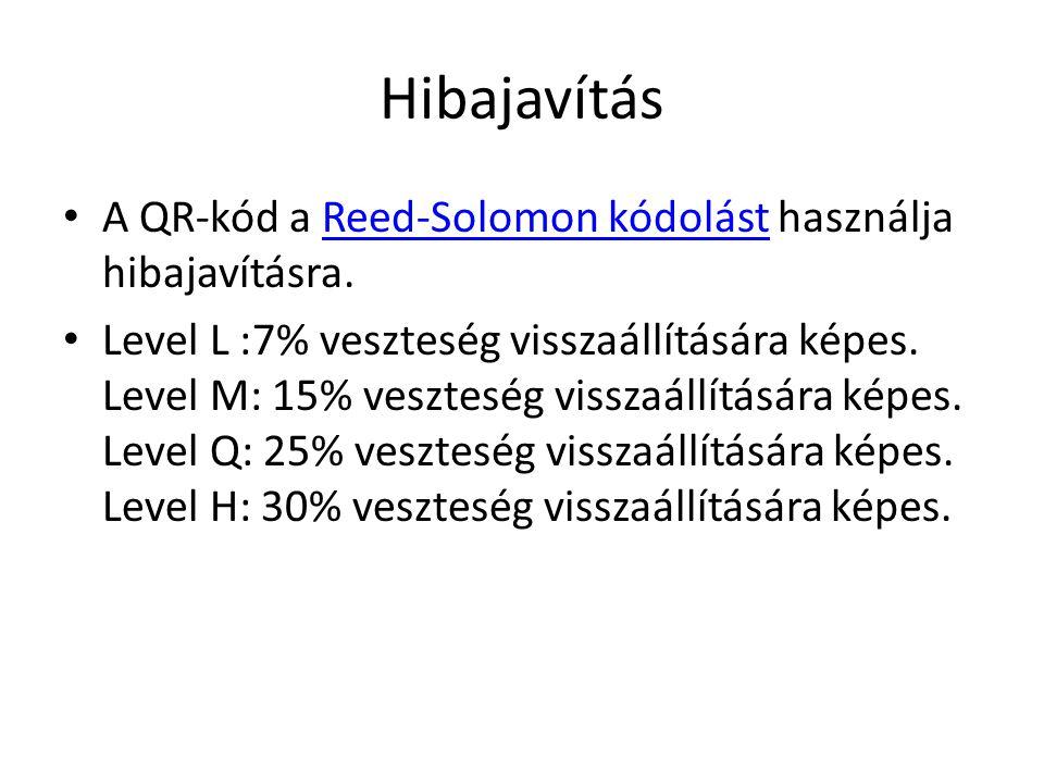 Hibajavítás A QR-kód a Reed-Solomon kódolást használja hibajavításra.Reed-Solomon kódolást Level L :7% veszteség visszaállítására képes.