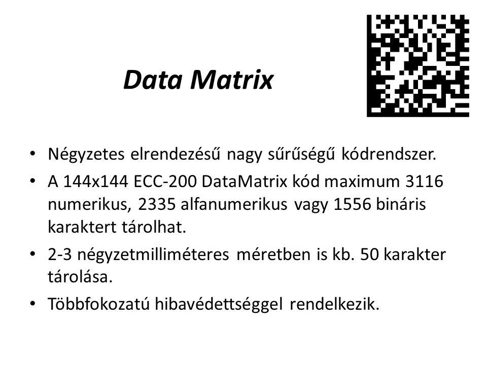 Data Matrix Négyzetes elrendezésű nagy sűrűségű kódrendszer.
