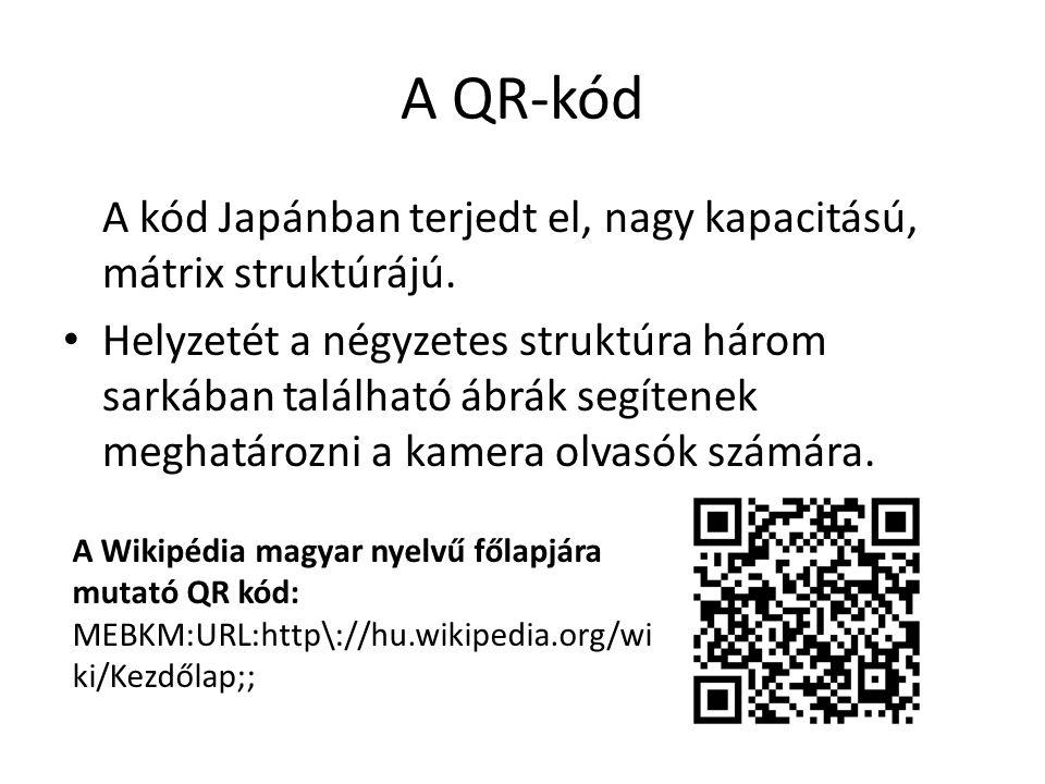 A QR-kód A kód Japánban terjedt el, nagy kapacitású, mátrix struktúrájú.