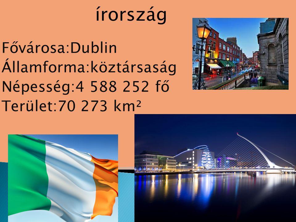 Fővárosa:Dublin Államforma:köztársaság Népesség:4 588 252 fő Terület:70 273 km² írország
