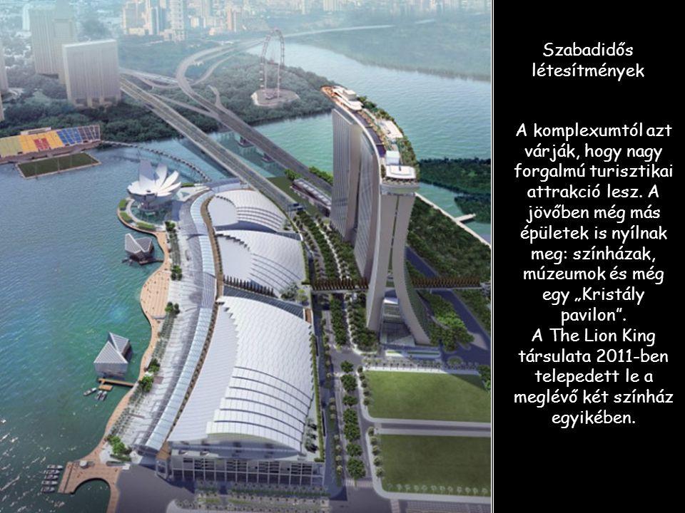 Versenyezhet Las Vegas-szal A komplexum, amelynek ára közel 6 milliárd $, egyedülálló Szingapurban. Készítette a Las Vegas Sand és más hasonló struktú