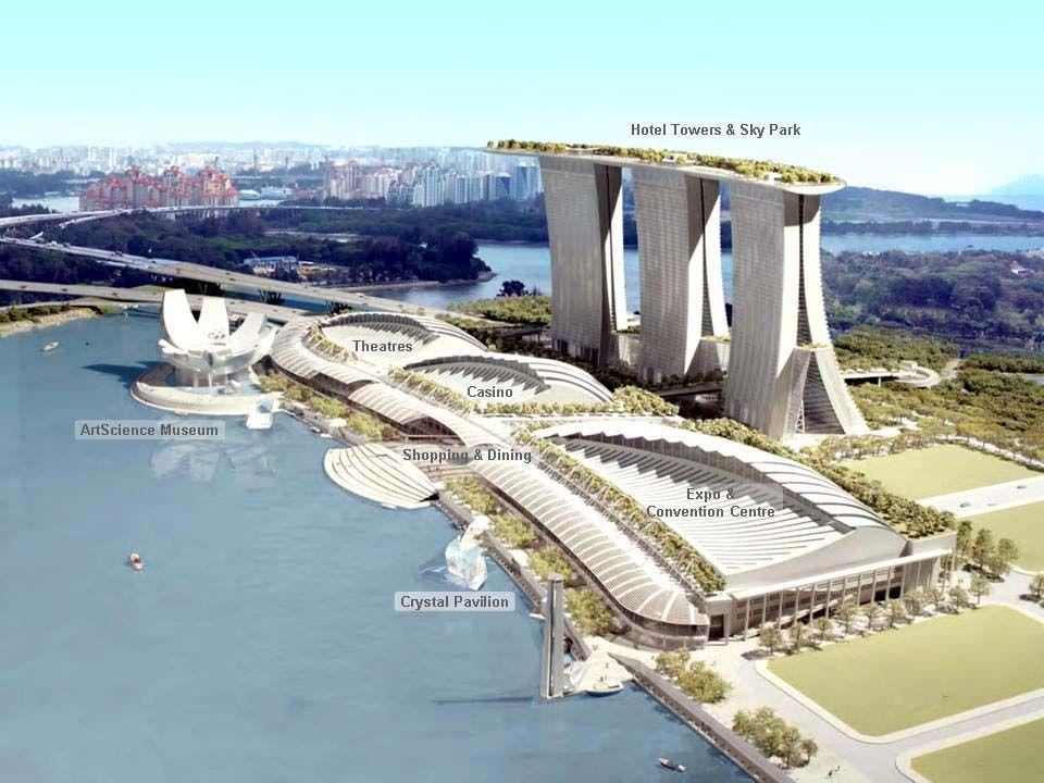 Az építőművészek mint egy koronát tették a Skypark-ot (Égipark) a Marina Hotel tetejére, benne medencével. Az épület három tornya, egyenként 50 emelet