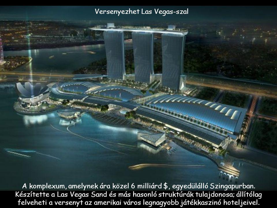 Versenyezhet Las Vegas-szal A komplexum, amelynek ára közel 6 milliárd $, egyedülálló Szingapurban.