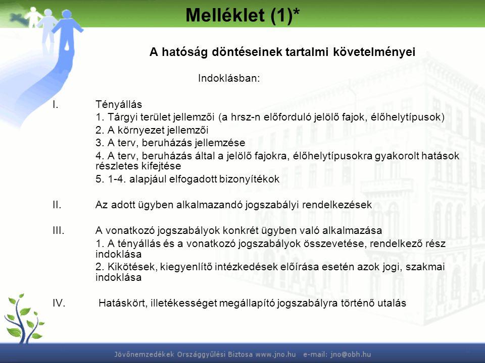 Melléklet (1)* A hatóság döntéseinek tartalmi követelményei Indoklásban: I.Tényállás 1. Tárgyi terület jellemzői (a hrsz-n előforduló jelölő fajok, él