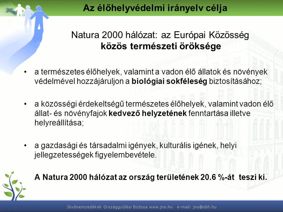 Az élőhelyvédelmi irányelv célja Natura 2000 hálózat: az Európai Közösség közös természeti öröksége a természetes élőhelyek, valamint a vadon élő állatok és növények védelmével hozzájáruljon a biológiai sokféleség biztosításához; a közösségi érdekeltségű természetes élőhelyek, valamint vadon élő állat- és növényfajok kedvező helyzetének fenntartása illetve helyreállítása; a gazdasági és társadalmi igények, kulturális igének, helyi jellegzetességek figyelembevétele.