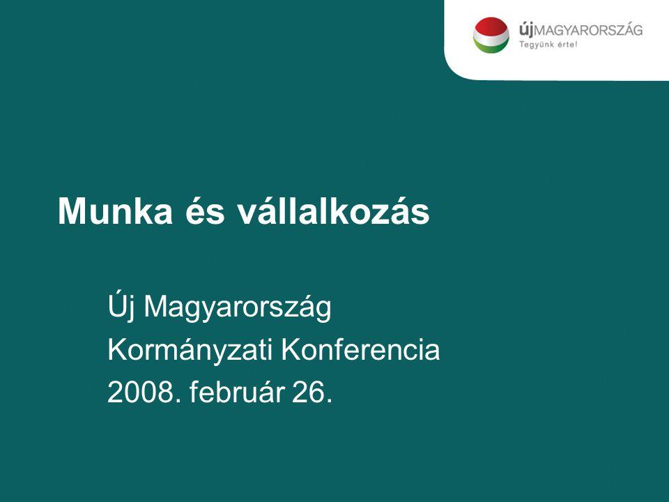 Munka és vállalkozás Új Magyarország Kormányzati Konferencia 2008. február 26.