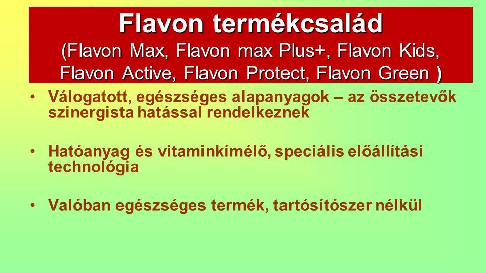Tudományosan megalapozott tények és ismeretek, pontosan meghatározott, állandó receptúra Kiválóan illeszkedik a funkcionális élelmiszerek sorába Gluténmentesség, melyet az SGS (minőségellenörző) igazolt Flavon termékcsalád (Flavon Max, Flavon max Plus+, Flavon Kids, Flavon Active, Flavon Protect, Flavon Green )