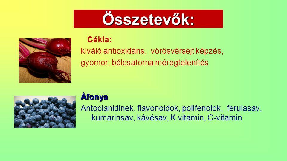 Összetevők: Cékla: kiváló antioxidáns, vörösvérsejt képzés, gyomor, bélcsatorna méregtelenítésÁfonya Antocianidinek, flavonoidok, polifenolok, ferulas