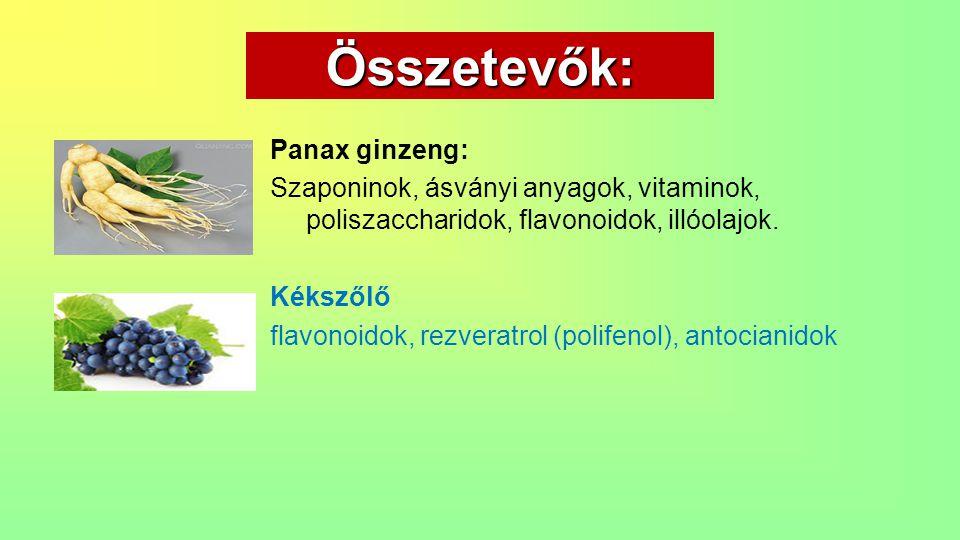 Összetevők: Panax ginzeng: Szaponinok, ásványi anyagok, vitaminok, poliszaccharidok, flavonoidok, illóolajok. Kékszőlő flavonoidok, rezveratrol (polif