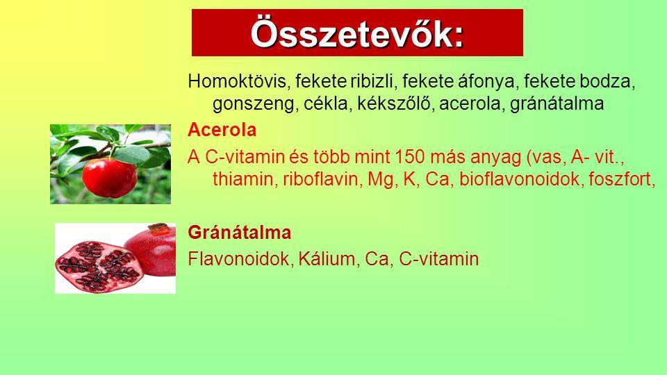 Összetevők: Homoktövis, fekete ribizli, fekete áfonya, fekete bodza, gonszeng, cékla, kékszőlő, acerola, gránátalma Acerola A C-vitamin és több mint 1