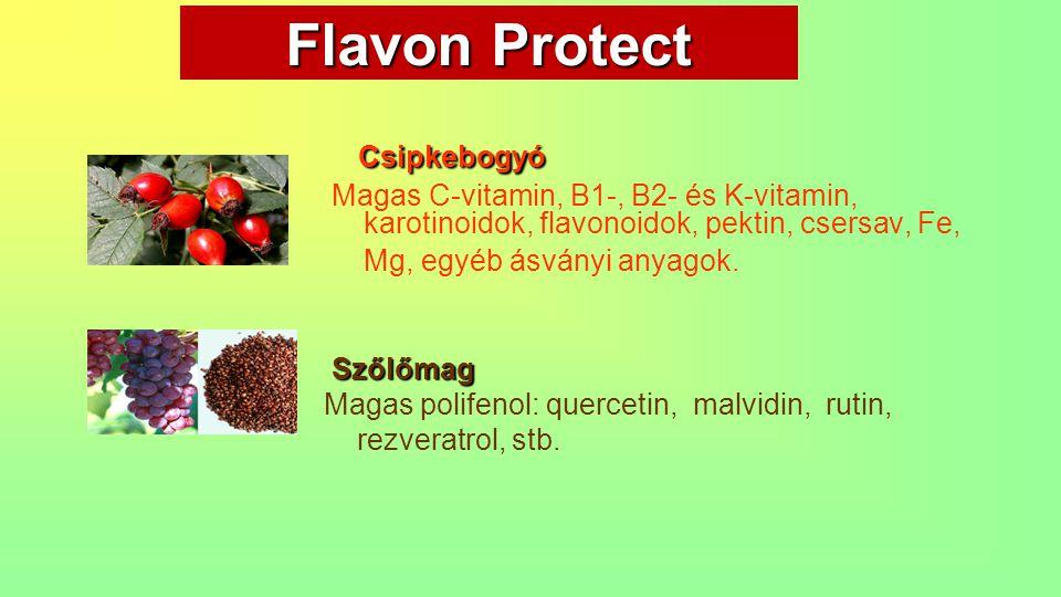 Flavon Protect Csipkebogyó Csipkebogyó Magas C-vitamin, B1-, B2- és K-vitamin, karotinoidok, flavonoidok, pektin, csersav, Fe, Mg, egyéb ásványi anyag