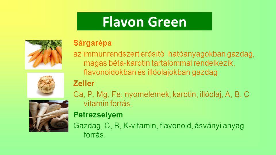 Flavon Green Fokhagyma Flavonoidok, enzimek (alliin és alliináz) A-, B 1 -, B 2 - és C-vitamin.