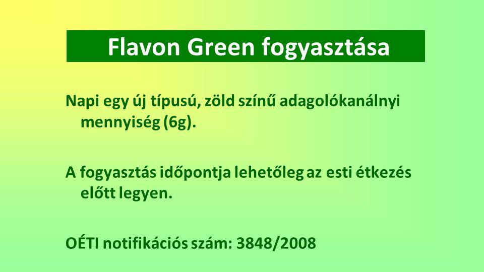 Flavon Green fogyasztása Napi egy új típusú, zöld színű adagolókanálnyi mennyiség (6g). A fogyasztás időpontja lehetőleg az esti étkezés előtt legyen.