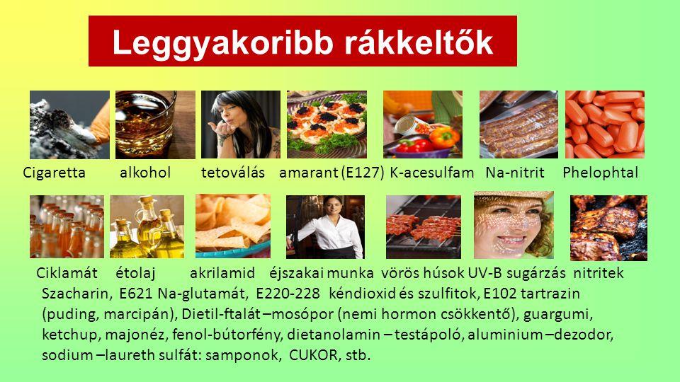 Leggyakoribb rákkeltők Cigaretta alkohol tetoválás amarant (E127) K-acesulfam Na-nitrit Phelophtal Ciklamát étolaj akrilamid éjszakai munka vörös húso