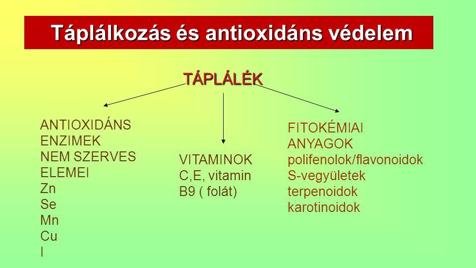 Táplálkozás és antioxidáns védelem Táplálkozás és antioxidáns védelem FITOKÉMIAI ANYAGOK polifenolok/flavonoidok S-vegyületek terpenoidok karotinoidok