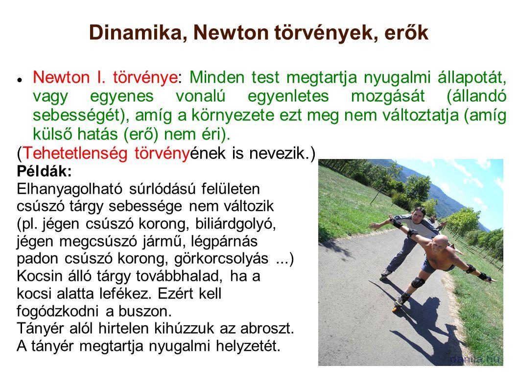 Dinamika, Newton törvények, erők Newton I. törvénye: Minden test megtartja nyugalmi állapotát, vagy egyenes vonalú egyenletes mozgását (állandó sebess