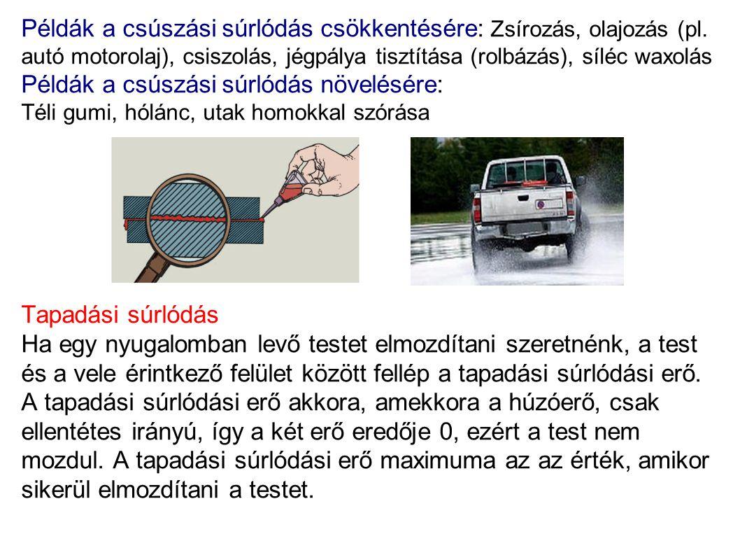 Példák a csúszási súrlódás csökkentésére: Zsírozás, olajozás (pl. autó motorolaj), csiszolás, jégpálya tisztítása (rolbázás), síléc waxolás Példák a c