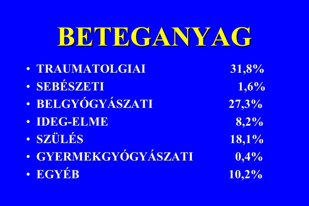 BETEGANYAG TRAUMATOLGIAI 31,8% SEBÉSZETI 1,6% BELGYÓGYÁSZATI 27,3% IDEG-ELME 8,2% SZÜLÉS 18,1% GYERMEKGYÓGYÁSZATI 0,4% EGYÉB 10,2%