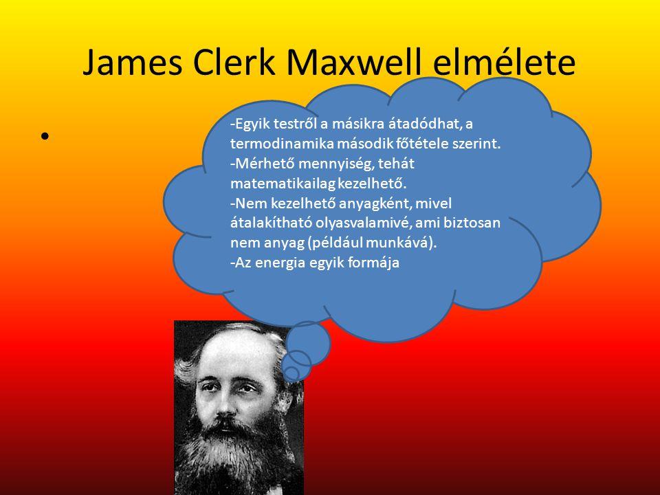 James Clerk Maxwell elmélete -Egyik testről a másikra átadódhat, a termodinamika második főtétele szerint. -Mérhető mennyiség, tehát matematikailag ke
