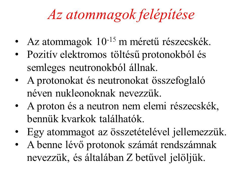IZOTÓPOK Izotópok Olyan nuklidok, amelyek protonszáma megegyezik, neutronok száma viszont különbözik Z rendszám ugyanaz, különböző atomtömeg A Ej: 1 1 H 2 1 H és 3 1 H Izotónok Olyan nuklidok, amelyek protonszáma különbözik neutronok száma viszont megegyezik Z rendszám különböző, különböző atomtömeg A Ej: 13 6 C és 14 7 N Izobárok Olyan nuklidok, amelyek protonszáma különbözik, atomtömegszáma megegyezik Z rendszám különböző, atomtömeg A ugyanaz Ej: 14 6 C és 14 7 N Izomérek Olyan nuklidok, amelyek protonszáma és neutronok száma megegyezik, de különböző energiaszintjei vannak Z rendszám ugyanaz, atomtömeg A ugyanza Ej: 99m 43 Tc és 99 43 Tc