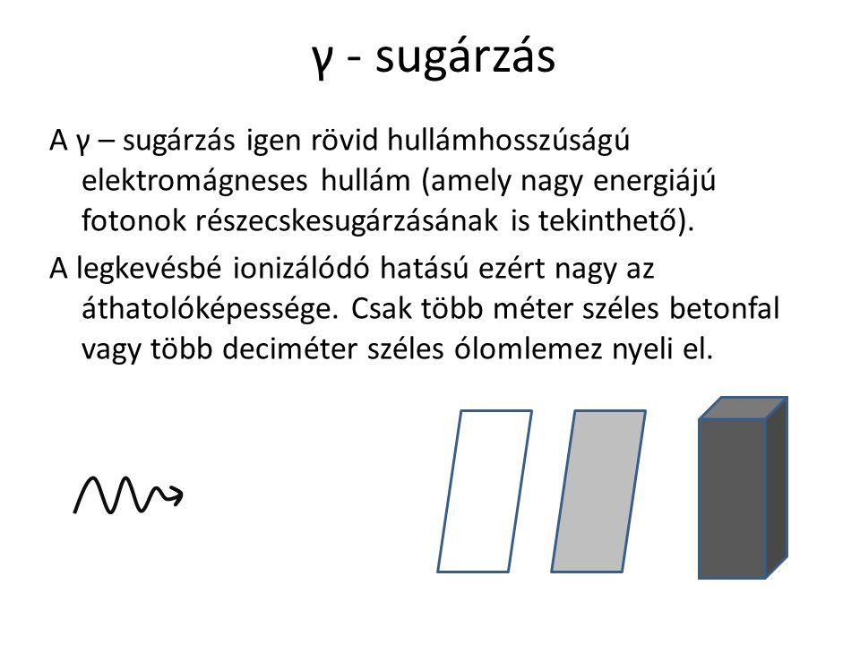 γ - sugárzás A γ – sugárzás igen rövid hullámhosszúságú elektromágneses hullám (amely nagy energiájú fotonok részecskesugárzásának is tekinthető). A l