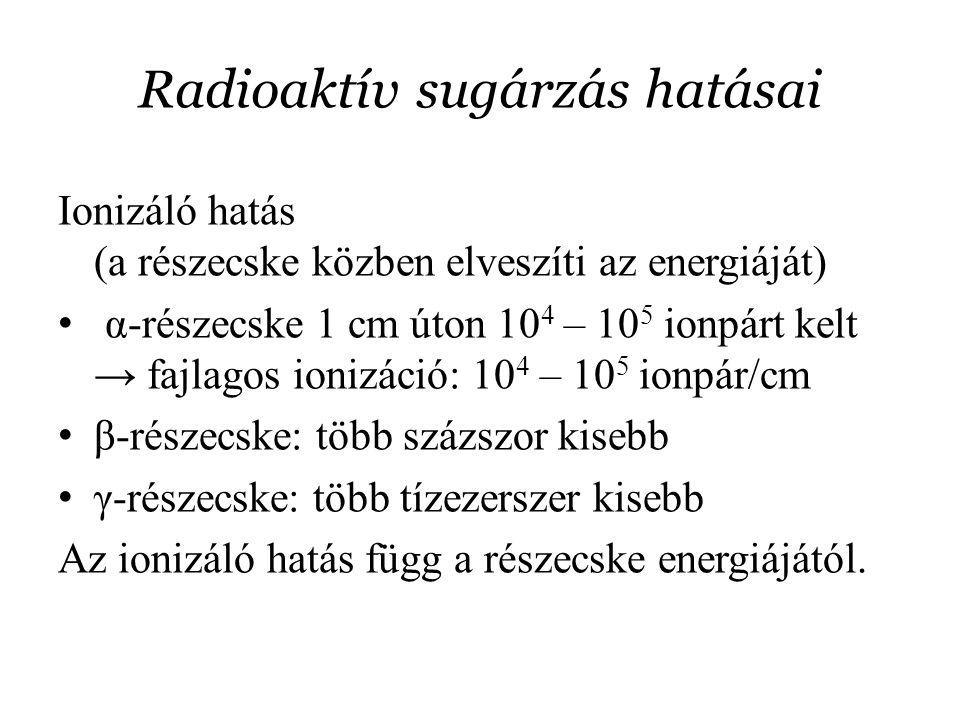 Radioaktív sugárzás hatásai Ionizáló hatás (a részecske közben elveszíti az energiáját) α-részecske 1 cm úton 10 4 – 10 5 ionpárt kelt → fajlagos ioni