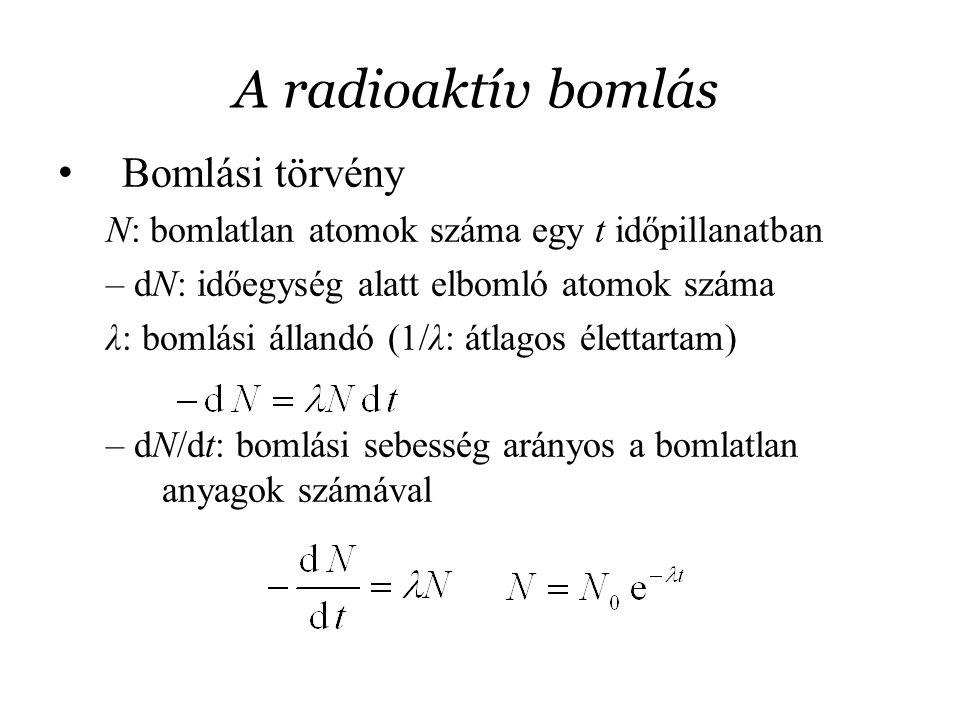 A radioaktív bomlás Bomlási törvény N: bomlatlan atomok száma egy t időpillanatban – dN: időegység alatt elbomló atomok száma λ: bomlási állandó (1/λ: