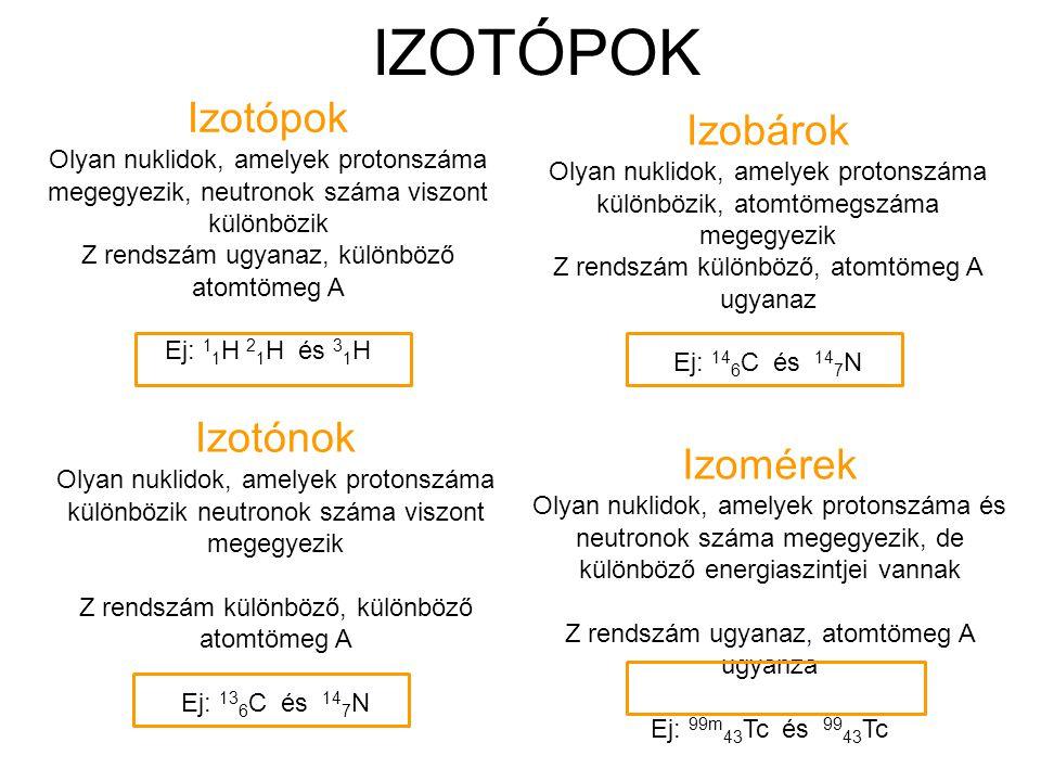 IZOTÓPOK Izotópok Olyan nuklidok, amelyek protonszáma megegyezik, neutronok száma viszont különbözik Z rendszám ugyanaz, különböző atomtömeg A Ej: 1 1