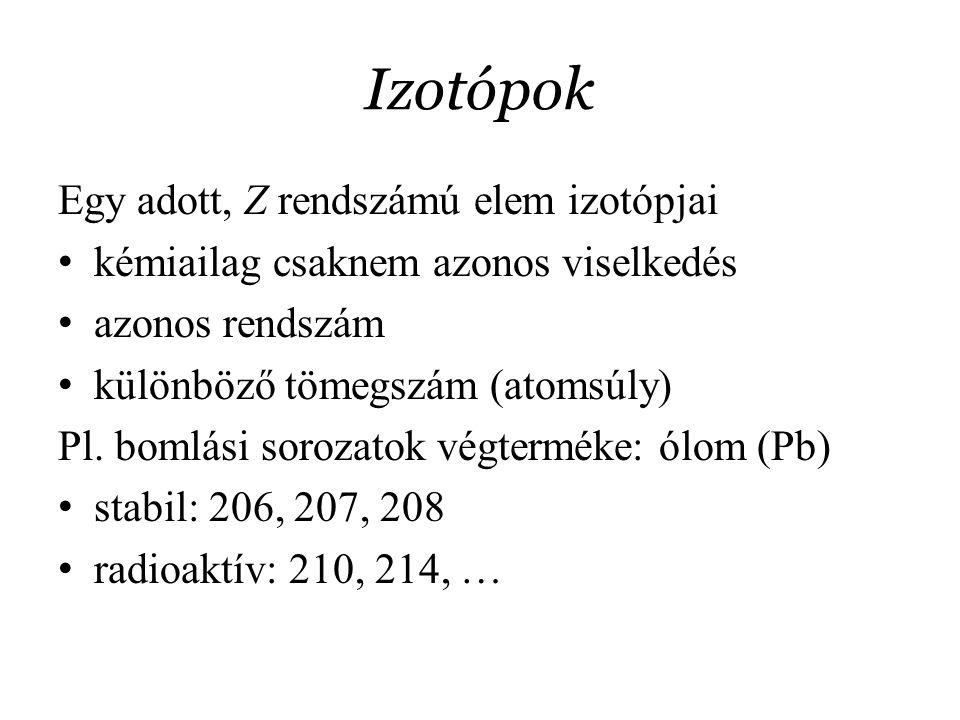 Izotópok Egy adott, Z rendszámú elem izotópjai kémiailag csaknem azonos viselkedés azonos rendszám különböző tömegszám (atomsúly) Pl. bomlási sorozato