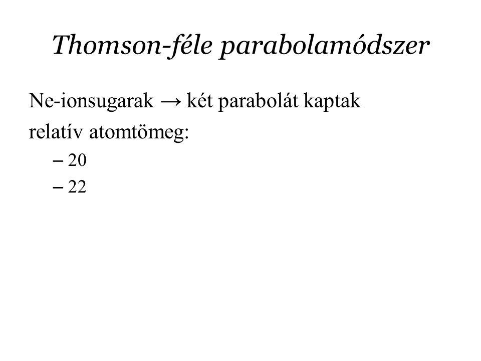 Thomson-féle parabolamódszer Ne-ionsugarak → két parabolát kaptak relatív atomtömeg: – 20 – 22