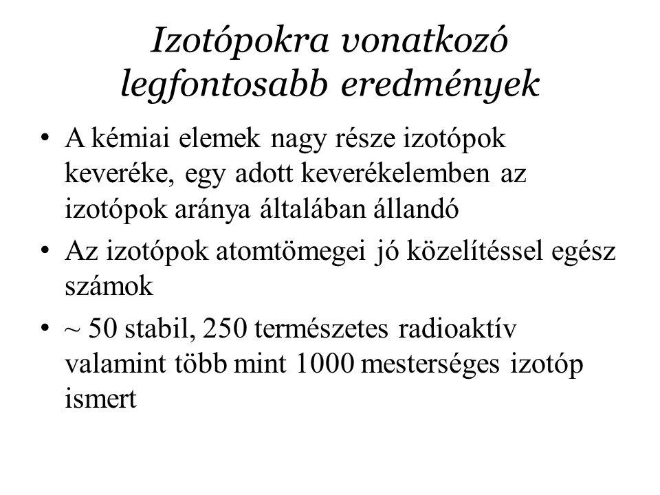 Izotópokra vonatkozó legfontosabb eredmények A kémiai elemek nagy része izotópok keveréke, egy adott keverékelemben az izotópok aránya általában állan