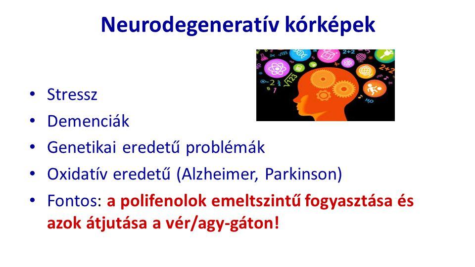 Neurodegeneratív kórképek Stressz Demenciák Genetikai eredetű problémák Oxidatív eredetű (Alzheimer, Parkinson) Fontos: a polifenolok emeltszintű fogy