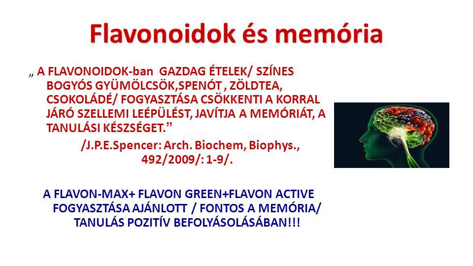 """Flavonoidok és memória """" A FLAVONOIDOK-ban GAZDAG ÉTELEK/ SZÍNES BOGYÓS GYÜMÖLCSÖK,SPENÓT, ZÖLDTEA, CSOKOLÁDÉ/ FOGYASZTÁSA CSÖKKENTI A KORRAL JÁRÓ SZE"""