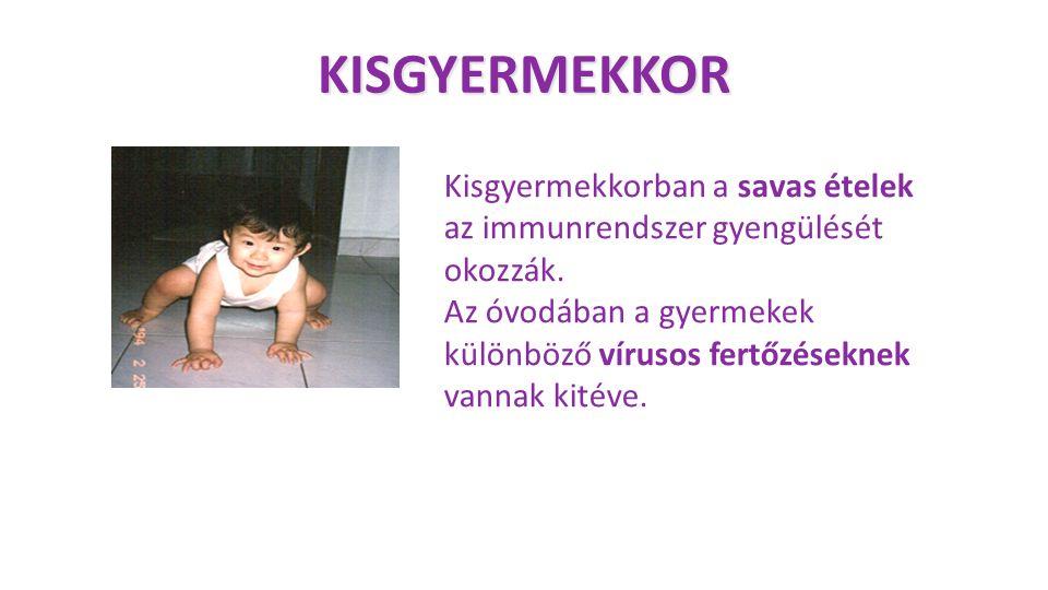 KISGYERMEKKOR Kisgyermekkorban a savas ételek az immunrendszer gyengülését okozzák. Az óvodában a gyermekek különböző vírusos fertőzéseknek vannak kit
