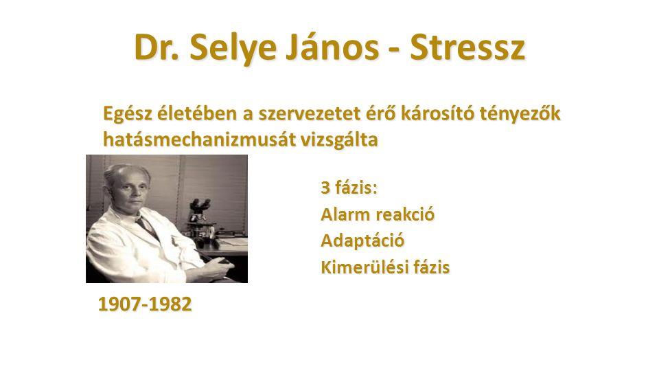 Dr. Selye János - Stressz 3 fázis: Alarm reakció Adaptáció Kimerülési fázis 1907-1982 Egész életében a szervezetet érő károsító tényezők hatásmechaniz